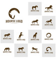 set horse logo design icon symbol horse horse vector image