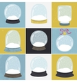 Set of 9 with hand drawn snow globe vector image