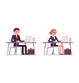 set of happy young businessmen sitting at the vector image vector image