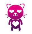 silhouette enamored cat cute feline animal vector image vector image