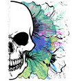 skull watercolor t shirt graphic design vector image vector image