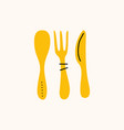 spoon knife and fork cartoon doodle stock icon in vector image