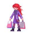 spring shopping bag package girl purchase isolated vector image