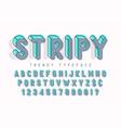 striped 3d display font popart design alphabet vector image vector image