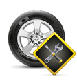 Wheel and sign vector image vector image