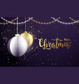 white and golden christmas balls background vector image