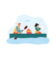 woman and man traveling on boat guy holding vector image