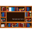 wooden bookshelves vector image vector image