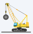 wrecking ball crane heavy machinery vector image vector image