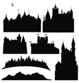 silhouettes of castles and elements for design vector image