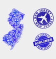 airlines collage new jersey state map and vector image vector image