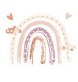 boho rainbow print with clouds for playroom with vector image