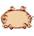 border template design with cute monkeys vector image vector image