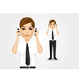 businessman talking on two cell phones vector image vector image