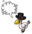 cartoon image of bird wearing hat vector image