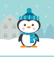 christmas card with penguin vector image vector image