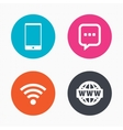 Communication icons Smartphone and chat bubble vector image vector image