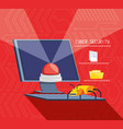 desktop computer with set icons cyber security vector image vector image