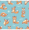 Funny seamless pattern with cartoon foxes doing vector image