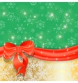 Gold Christmas background with ribbon and bow vector image vector image