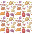hand drawn georgian food seamless pattern vector image vector image