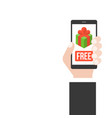 hand holding smartphone with free gif box on the vector image