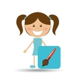 Happy girl student school paint brush icon