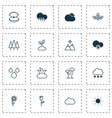 landscape icons set collection of love flower vector image vector image