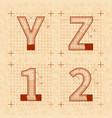 medieval inventor sketches y z 1 2 letters vector image vector image