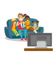 multiracial family watching television at home vector image vector image