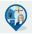 Navigation marker with law icons in flat design vector image vector image