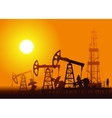 Oil pumps and rig over sunset vector image vector image