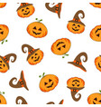 pattern with cute halloween pumpkin vector image vector image
