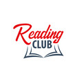 reading club logo education and book emblem vector image