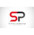 red and black sp s p letter logo design creative vector image vector image