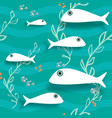 seamless pattern with fish underwater background vector image
