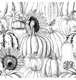 seamless pattern with pumpkins and sunflowers vector image vector image