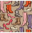 Seamless pattern with shoes Hand drawn vector image vector image