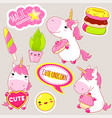 set of cute unicorns stickers in kawaii style vector image vector image