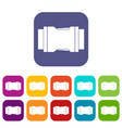 side release buckle icons set flat vector image vector image