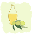 Small bottle of olive oil and two olives vector image