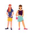 smiling girls with bags stylish female teenagers vector image