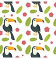 toucan parrot bird seamless pattern flat style vector image vector image