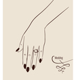 Woman hand wearing a wedding ring drawing vector image vector image