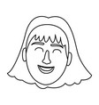 woman with short hair smiling black and white vector image vector image