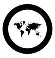 world map icon black color in circle vector image