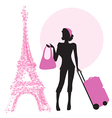 young woman with suitcase in Paris vector image vector image