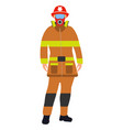 fireman flat icon service 911 cartoon vector image