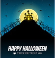 Scary house on the hill with moon vector image