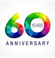 60 anniversary facet color logo vector image vector image